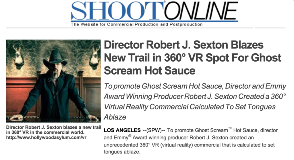 Director Robert J. Sexton blazes a new trail in 360° VR in the commercial world. http://www.hollywoodasylum.com/vr